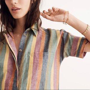 Madewell Courier Shirtdress in Rainbow Stripe